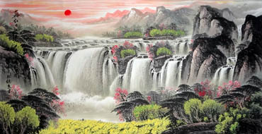 Chinese Waterfall Painting,66cm x 136cm,1058012-x
