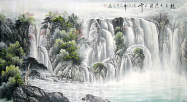 Chinese Waterfall Painting,97cm x 180cm,1058013-x