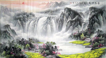 Chinese Waterfall Painting,97cm x 180cm,1058014-x