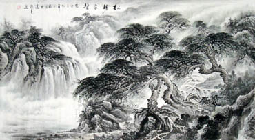 Chinese Waterfall Painting,97cm x 180cm,1058016-x