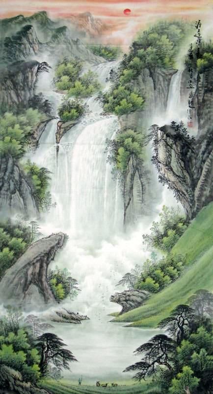 chinese waterfall painting 1058017  97cm x 180cm 38 u3003 x 70 u3003