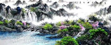 Chinese Waterfall Painting,97cm x 240cm,1061001-x