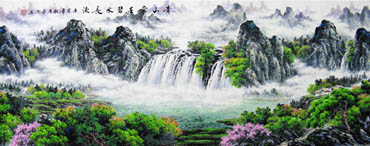Chinese Waterfall Painting,70cm x 180cm,1061002-x
