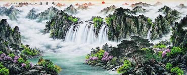 Chinese Waterfall Painting,96cm x 240cm,1061037-x
