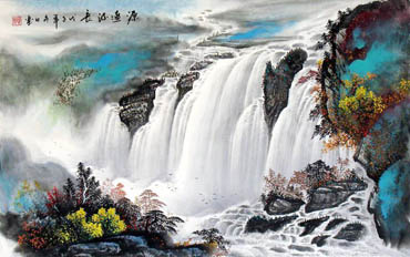 Chinese Waterfall Painting,60cm x 97cm,1107007-x