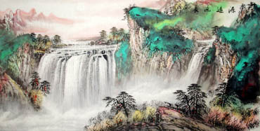 Chinese Waterfall Painting,69cm x 138cm,1107013-x