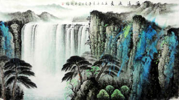 Chinese Waterfall Painting,97cm x 180cm,1107014-x