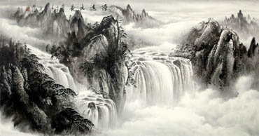 Chinese Waterfall Painting,69cm x 138cm,1107015-x