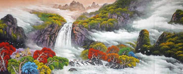 Chinese Waterfall Painting,96cm x 240cm,1134002-x