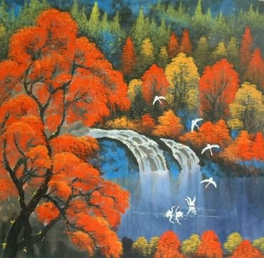 Chinese Waterfall Painting,62cm x 62cm,1134004-x