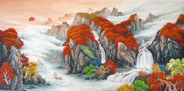 Chinese Waterfall Painting,96cm x 240cm,1134007-x