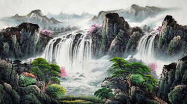 Chinese Waterfall Painting,90cm x 180cm,1134008-x