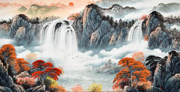 Chinese Waterfall Painting,90cm x 180cm,1134009-x
