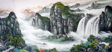 Chinese Waterfall Painting,120cm x 235cm,1134010-x