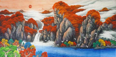 Chinese Waterfall Painting,120cm x 240cm,1134011-x