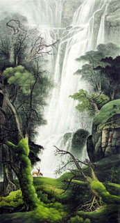 Chinese Waterfall Painting,97cm x 180cm,1135003-x