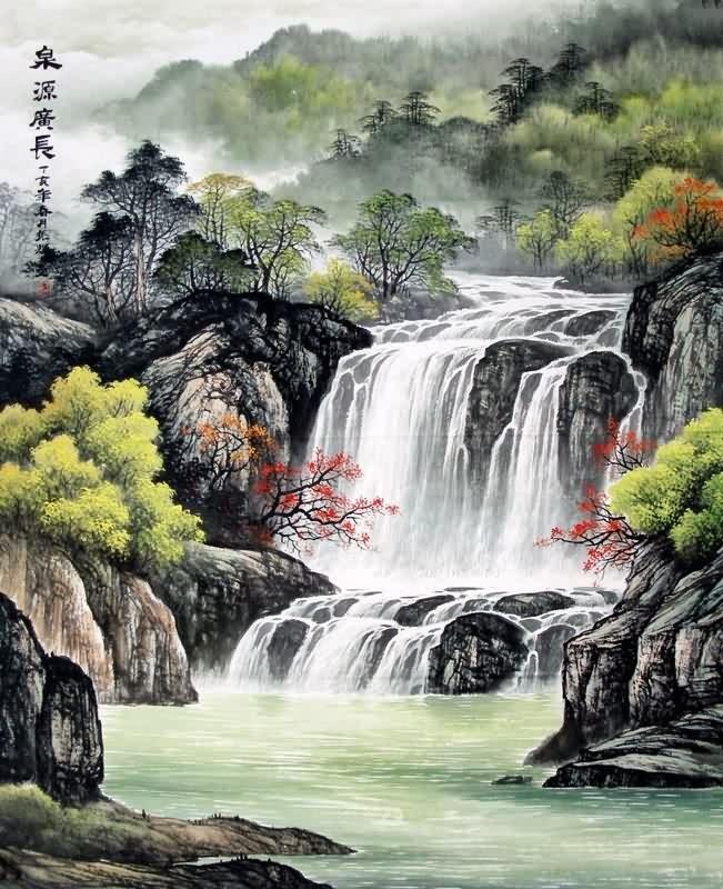 chinese waterfall painting 1135006  90cm x 110cm 35 u3003 x 43 u3003