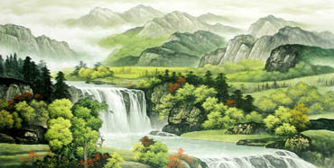 Chinese Waterfall Painting,66cm x 136cm,1135016-x