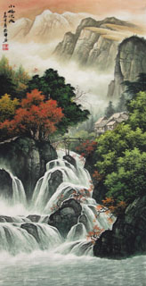 Chinese Waterfall Painting,50cm x 100cm,1135034-x