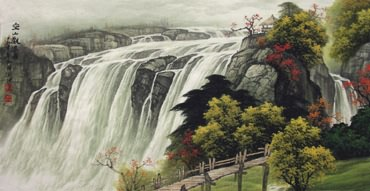 Chinese Waterfall Painting,50cm x 100cm,1135035-x