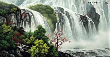 Chinese Waterfall Painting,48cm x 96cm,1135120-x