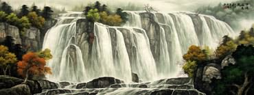 Chinese Waterfall Painting,65cm x 175cm,1135124-x