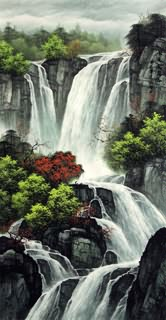Chinese Waterfall Painting,48cm x 96cm,1135125-x