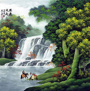 Chinese Waterfall Painting,68cm x 68cm,1135143-x