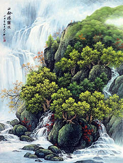 Chinese Waterfall Painting,95cm x 130cm,1135145-x