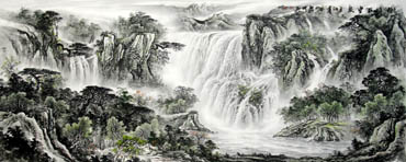 Chinese Waterfall Painting,96cm x 240cm,1136001-x