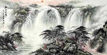 Chinese Waterfall Painting,69cm x 138cm,1136003-x