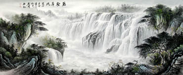 Chinese Waterfall Painting,96cm x 240cm,1136004-x