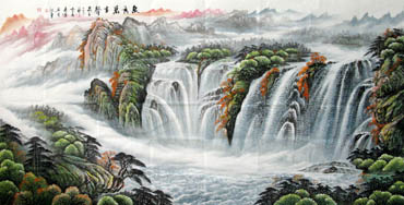 Chinese Waterfall Painting,129cm x 248cm,1137001-x