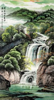 Chinese Waterfall Painting,97cm x 180cm,1137002-x