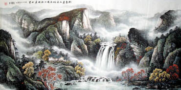 Chinese Waterfall Painting,69cm x 138cm,1137007-x