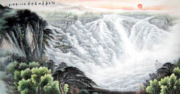 Chinese Waterfall Painting,69cm x 138cm,1139001-x