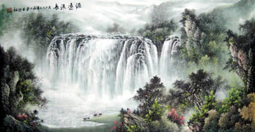 Chinese Waterfall Painting,69cm x 138cm,1139002-x