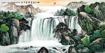 Chinese Waterfall Painting,69cm x 138cm,1139004-x
