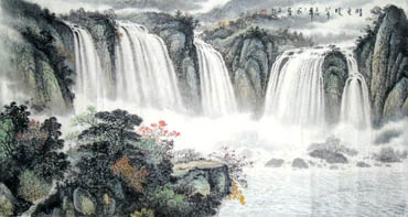 Chinese Waterfall Painting,97cm x 180cm,1139005-x