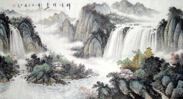 Chinese Waterfall Painting,97cm x 180cm,1139006-x