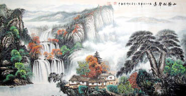 Chinese Waterfall Painting,69cm x 138cm,1139008-x