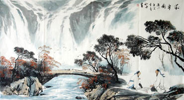 Chinese Waterfall Painting,97cm x 180cm,1143002-x