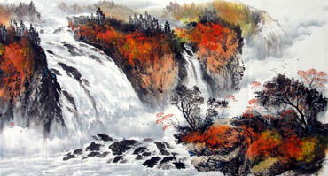 Chinese Waterfall Painting,97cm x 180cm,1143004-x