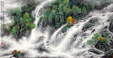 Chinese Waterfall Painting,66cm x 136cm,1145001-x
