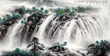 Chinese Waterfall Painting,66cm x 136cm,1145002-x