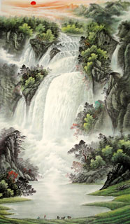Chinese Waterfall Painting,65cm x 134cm,1146001-x