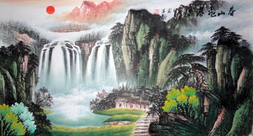 Chinese Waterfall Painting,50cm x 100cm,1146002-x