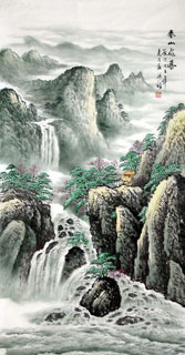 Chinese Waterfall Painting,66cm x 136cm,1146004-x