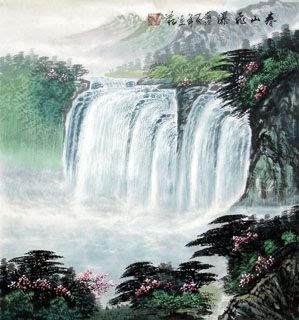 Chinese Waterfall Painting,50cm x 55cm,1146005-x