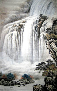 Chinese Waterfall Painting,68cm x 110cm,1146006-x